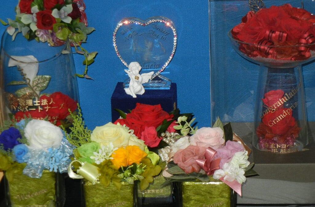 ☆プリザーブドフラワー「キューブ」花器に名入れいたします☆